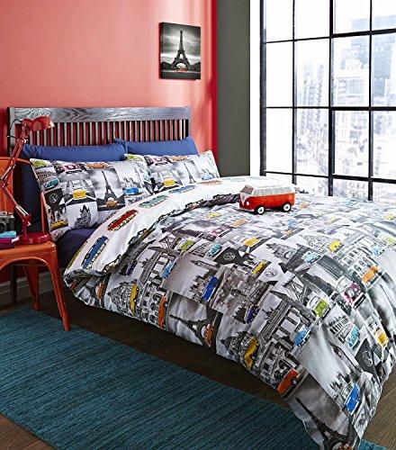 Volkswagen Campervan King Quilt Duvet Cover and 2 Pillowcase Bedding Bed Set of Ficial Vw City Camper Van, Multicolour