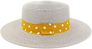 Happy-L Hat, Fashion Summer Ladies Men's Couple Straw Hat Outdoor Travel Sunscreen Straw Hat Solid Color Sun Hat Flat Jazz Hat Leisure Fashion Cap. (Color : Gray, Size : 56-58CM)
