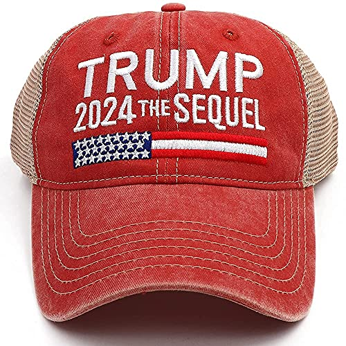 NDLBS Trump 2024 The Sequel Hat Campaign Rally Embroidered US Trump 2024 MAGA Hat Adjustable Baseball Trucker Cap