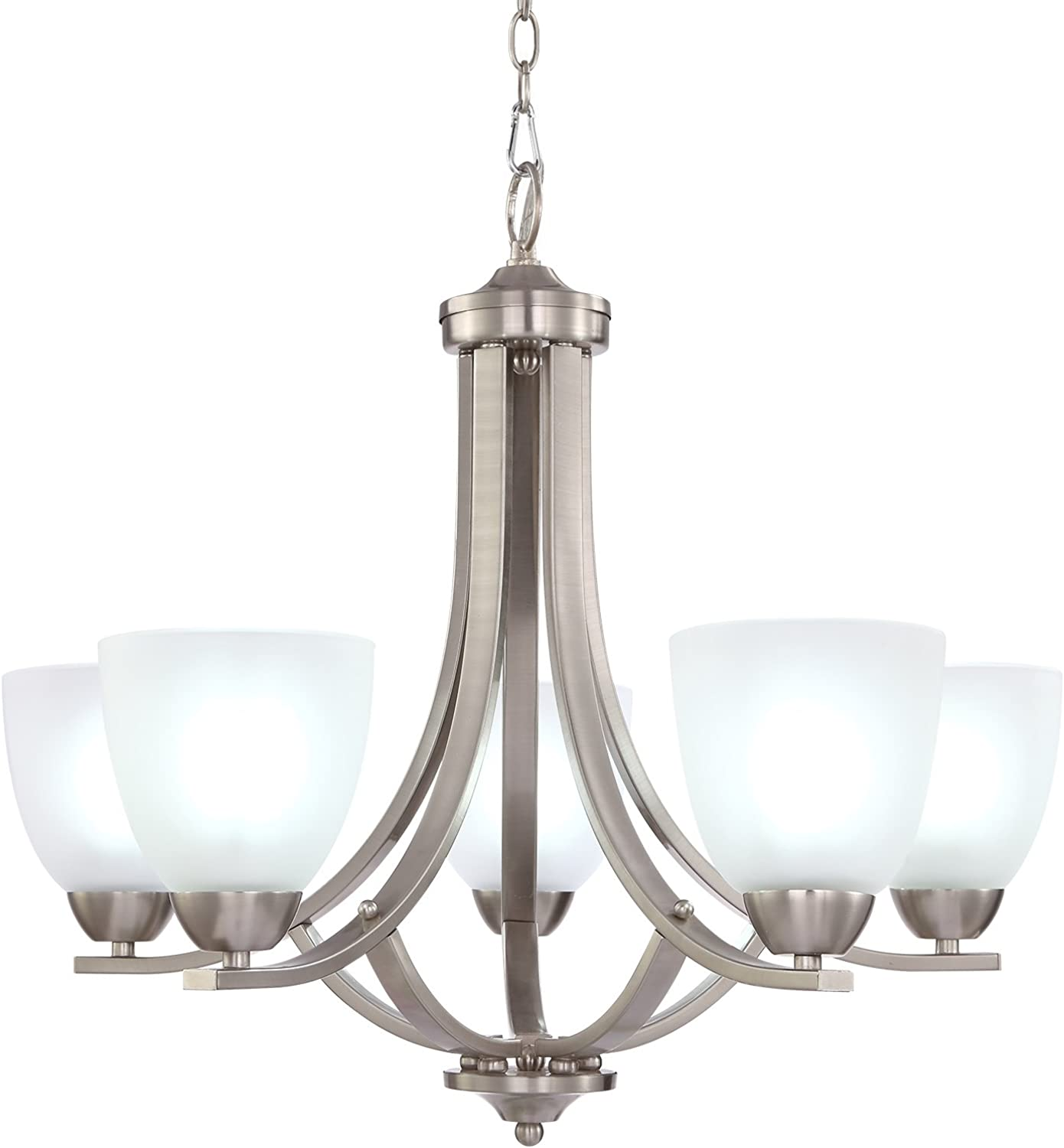 EPOWP 5-Light Large Chandeliers Contemporary Brushed Nickel Lighting(D88085)