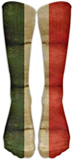 Leisue Old Italian Flag Cartoon Over-The-Calf Stockings Knee Long Socks for Yoga Train Hiking Cycling Running Sports Soccer