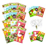Tiny Mills Farm Animals Coloring Books with Crayons Party Favors with 12 Coloring Books and 48 Crayons, Fun Barnyard Treats Party Favors, Farm Animals Prizes, Favor Bag Filler, Barnyard Party Supplies