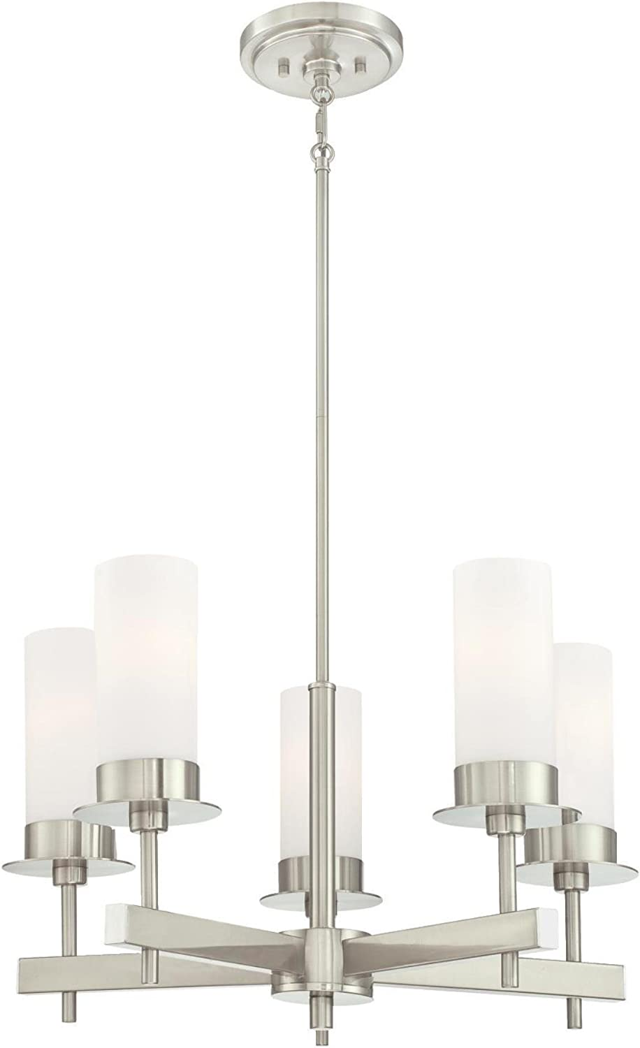 Westinghouse Lighting 6327000 Roswell Five-Light Indoor Chandelier, Brushed Nickel Finish with Frosted Opal Glass,