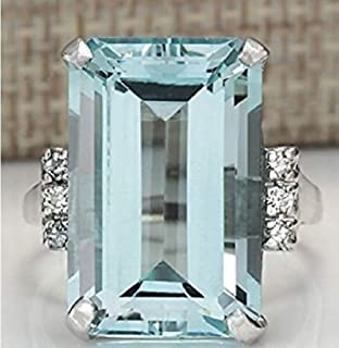 Vintage Women 925 Silver Aquamarine Gemstone Ring Wedding Jewelry Size (7)