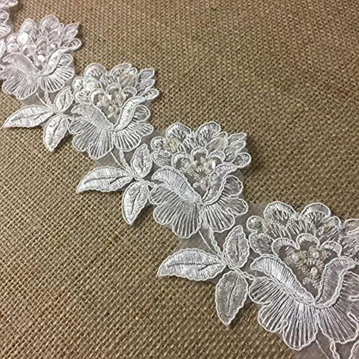 Bridal Veil Lace Trim Classic Rose Flower Design Alencon Hand Beaded Sequined Corded Embroidered Organza. 3