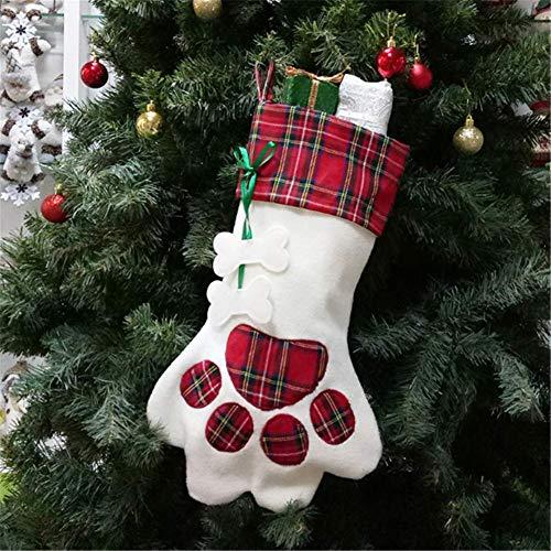 Molinter Calcetín de Navidad para rellenar botellas de vino, diseño de garra de gato, botas de Navidad para chimenea, calcetines de Papá Noel, decoración navideña (rojo)