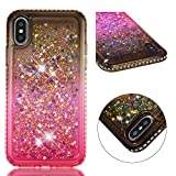 "Amocase Funny Liquid Case with 2 in 1 Stylus for iPhone X/XS 5.8"",Cute 3D Glitter Diamond Shockproof Quicksand Crystal Silicone Clear Cover for iPhone X/XS 5.8"" - Gray Pink"