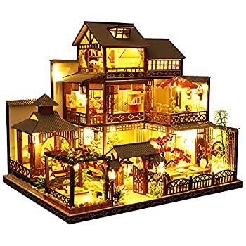 Dollhouse Miniature with Furniture DIY Wooden Doll House Kit Japanese-Style Plus Dust Cover and Music Movement 1 24 Scale Creative Room Idea Best Gift for Children Friend Lover P006  Yaquan s Court