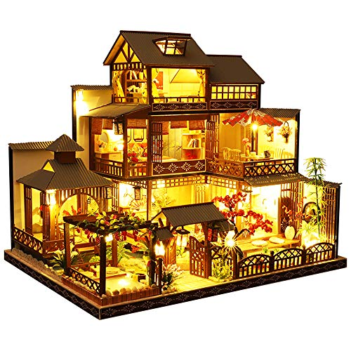 Dollhouse Miniature with Furniture, DIY Wooden Doll House Kit Japanese-Style Plus Dust Cover and Music Movement, 1:24 Scale Creative Room Idea Best Gift for Children Friend Lover P006 (Yaquan's Court)