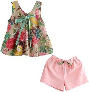 Ochine 子供服 ベービー服 ピンクパンツ+花柄上着 二点セット 女の子 ノースリーブ コットンブレンド カバーオール 2-8歳設定 100 110 120 130 140