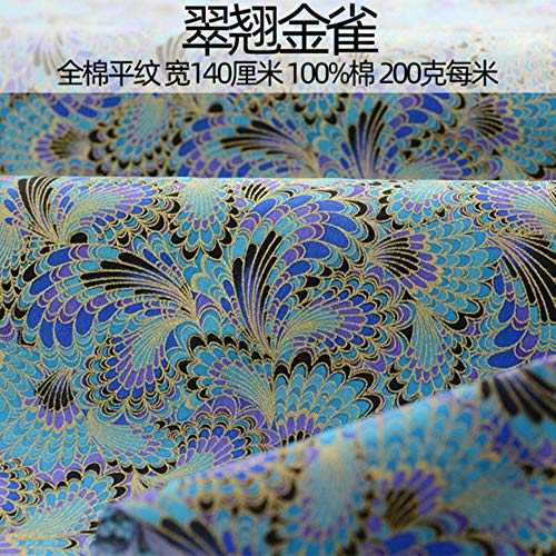 LINL Tela de algodón 100{3ab4a18237868cac85947dfabbd6af71245f1f3303630be140f505d5e352125e} para el Vestido bronceada Mano Hanfu Africana Material de Bricolaje de Costura Tela Japonesa,Azul eléctrico,140-145cm x 50cm
