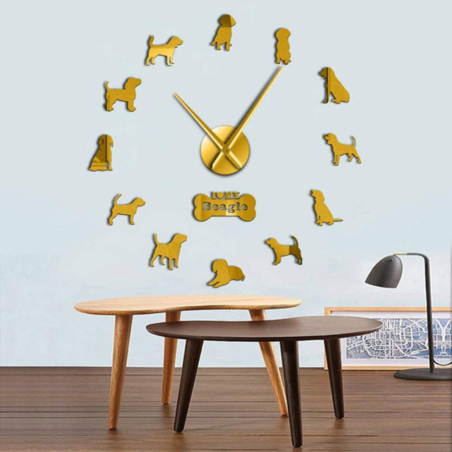 Cchpfcc Adorable Different Dog Breeds Large Wall Art Home Decor Kennel Clubs Wall Clock DIY Giant Living Room Clock Dog Pet Owners Gift