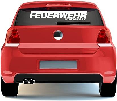 Malango Feuerwehr Schriftzug Mit Wunschort Klein Autoaufkleber Autosticker Aufkleber Sticker Heckscheibe 25 X 4 Cm Flieder Auto