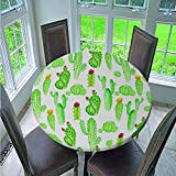 Fansu Manteles de Mesa Redonda de Tela, Impermeable Antimanchas Comedor 3D Flor Impresión Decorar Manteles para Cocina/Cena/Picnic Decoración (Cactus Verde,130cm)