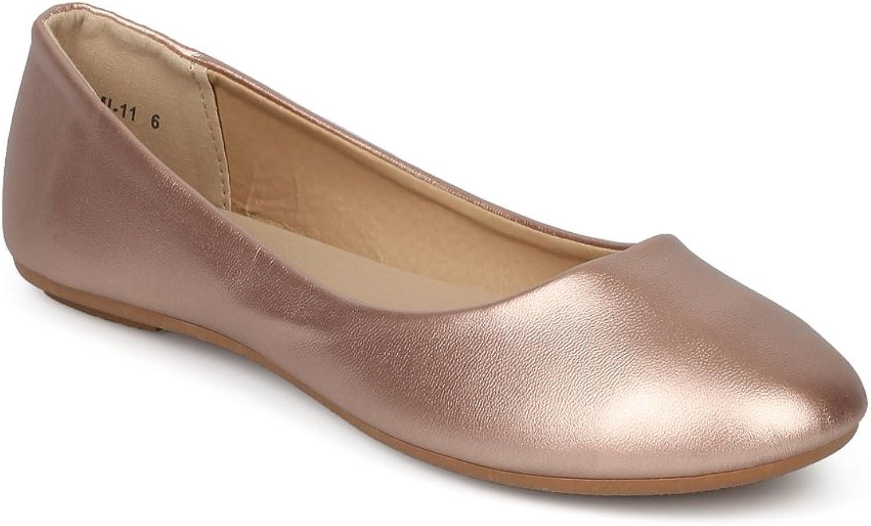 Alrisco Women Metallic Leatherette Round Toe Ballet Flat HE49