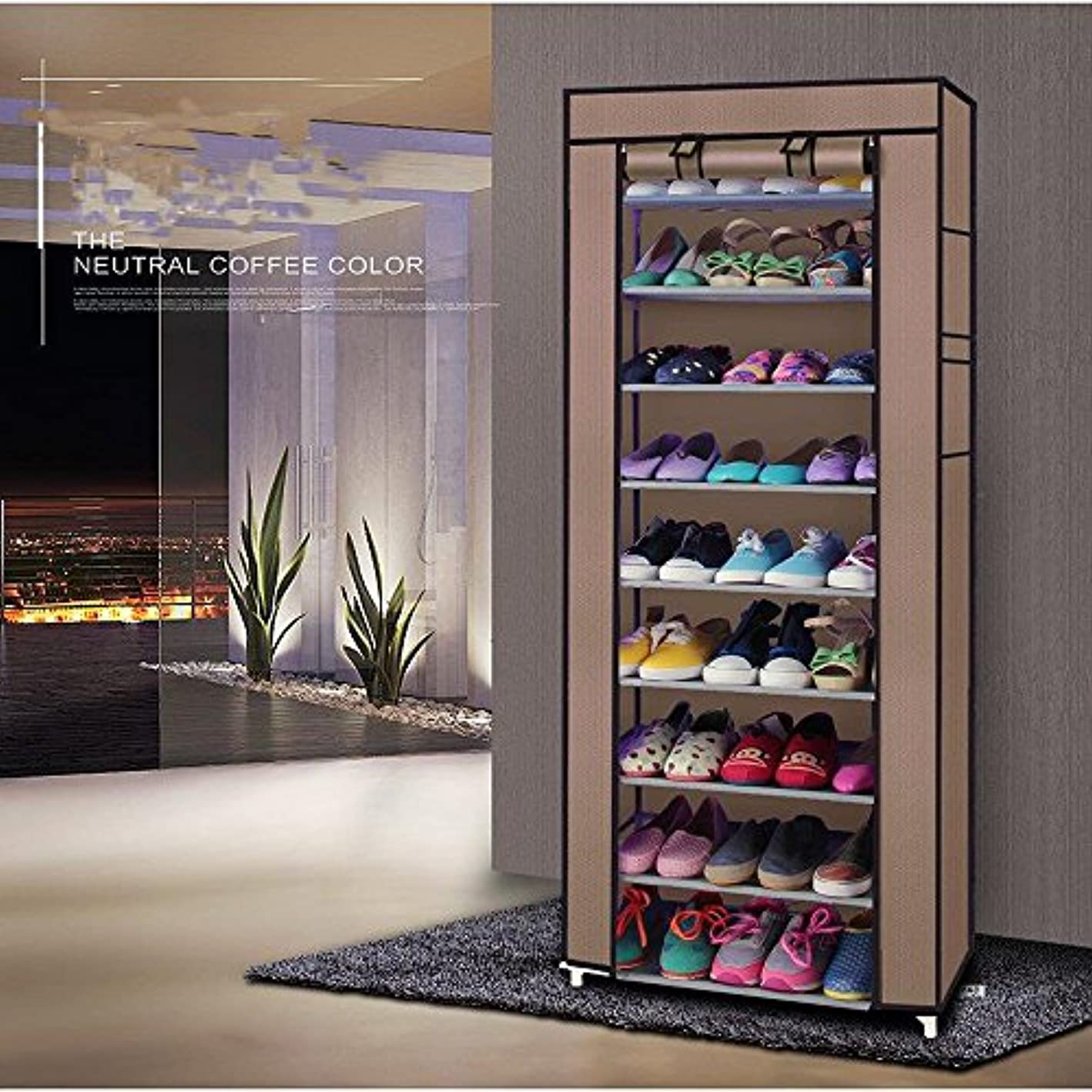 cosway 10 Tiers Shoe Rack with Cover Shoe Storage Cabinet Organizer 27 Pairs Shoe Tower Closet (Coffee)