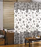 GELCO Textil-Duschvorhang in Spitzenqualität - 180x200 cm - maschinenwaschbar - verstärkte Ösen - beschwerter Saum - DESIGN-Duschvorhang made in France ('CHARME' - schwarz/weiß/graue Blumenornamente -)