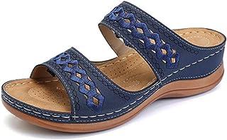 Women'S Sandals,Blue Women Sandals,Fashion Wedges Shoes For Women Slippers Summer Shoes With Heels Sandals Flip Flops Women Beach Casual Shoes