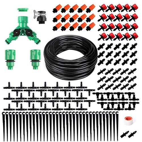 ZYCX123 Sistema de riego de jardinería de riego Kit de 40 Metros por 35 automático de riego por microaspersión arbusto Goteo Kit para Flower Paisaje Cama 159PCS jardinería Abastecimiento
