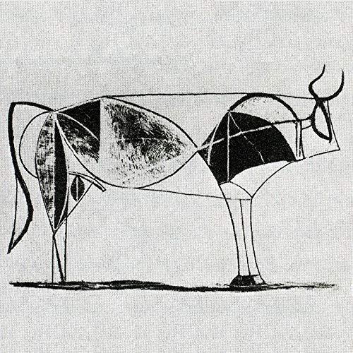 Impresión de Lienzo de Pared Arte Pintura Toro Picasso Óleo Reproducción Animal 30x42cm Sala de Estar Decoración del hogar