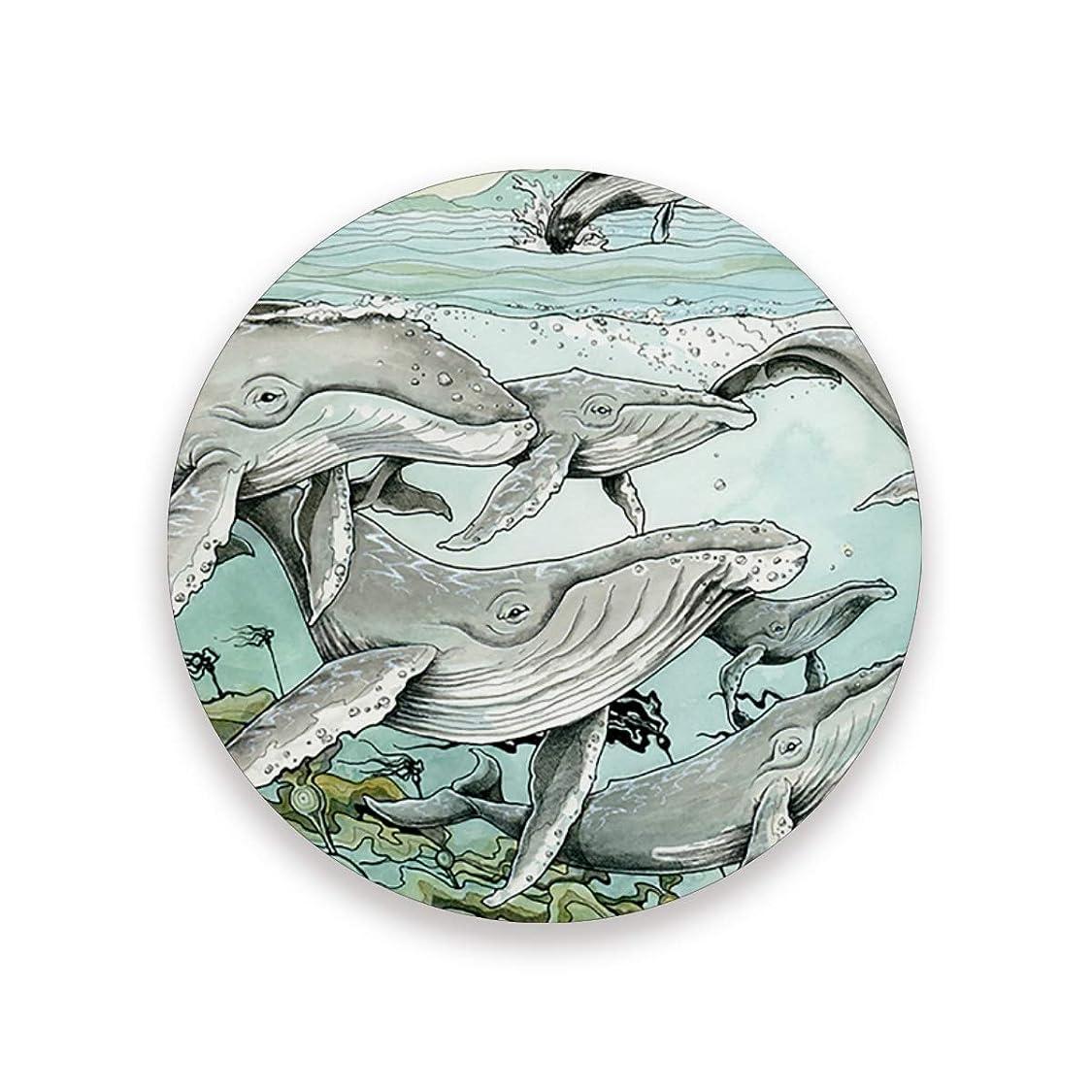 連続したがんばり続ける過度にコースター おしゃれ 茶パッド クジラ 漫画 滑り止め エコ 速乾 抗菌 消臭 4枚セット