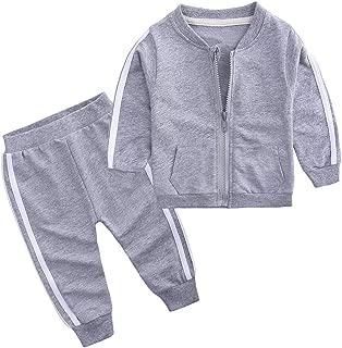 Baby Boys Girls Cotton Tracksuit Sweatshirt Top + Sweatpants Zipper Coat Outfits Set
