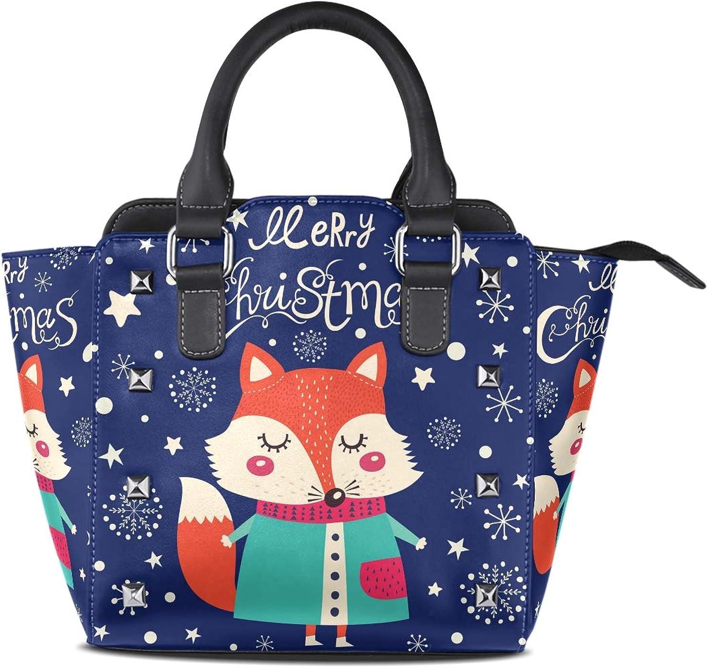 My Little Nest Women's Top Handle Satchel Handbag Christmas Fox Ladies PU Leather Shoulder Bag Crossbody Bag