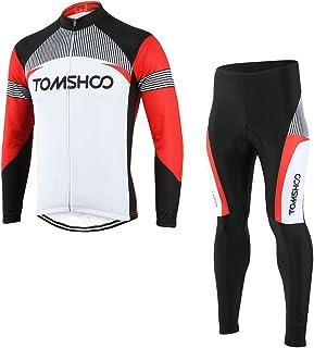 TOMSHOO Conjunto de Ropa de Ciclismo - Jersey de Manga Larga y Zip Completo+ Pantalones de Acolchado 3D Cómodo Respirable Secado Rápido - Ropa Deportivo para Bicicleta de Montaña
