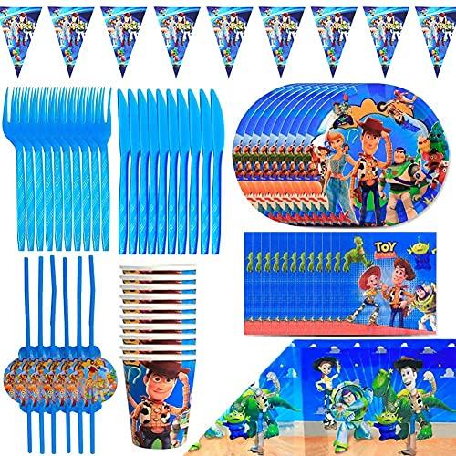 Babioms Juego de vajilla de fiesta, Historia del juguete patrón diseño, Pancartas+plato+taza+Servilletas+ manteles, para 6 personas usar, Adecuado para niñas y niños