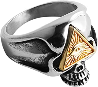 HZMAN Biker Cool Skull Rings for Men Women, Stainless Steel Band Illuminati The All-Seeing-Eye Pyramid/Eye Symbol Ring
