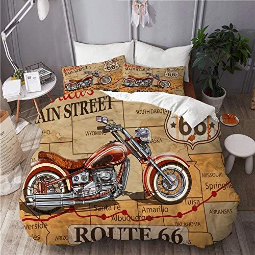 ELIENONO Set Biancheria da Letto,Poster Vintage Moto Route 66,Set Copripiumino in Microfibra,Matrimoniale,1 Copripiumino200 x 200cm + 2 federe 50 x 80 cm
