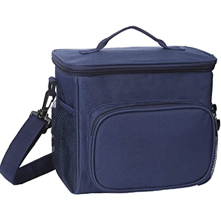 Insulated insulated lunch bag, women's sturdy Oxford insulated bag leak-proof fresh-keeping refrigerated bag with zipper and detachable shoulder strap for outdoor, school and office picnics (10L)