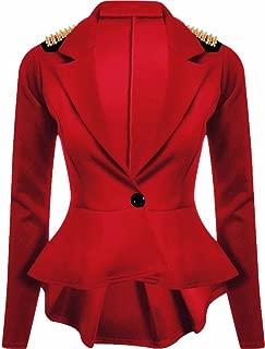 Womens Long Sleeves Plain Spikes Shoulder Peplum Button Blazer