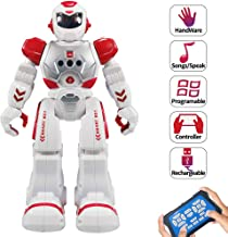 Suliper Remote Control Robots for Kids,Intellectual Gesture Sensor Programmable RC Robot Toys with Infrared Controller,Early Education,Speak,Dance,Sing,Walk,Robot Kits for Boys and Girls(Red/White)
