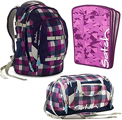 satch by Ergobag Berry Carry 3-teiliges Set Rucksack, Sporttasche & Heftebox Lila