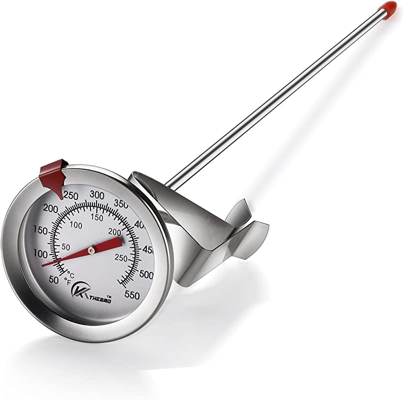 KT THERMO Deep Fry Thermometer With Instant Read Dial Thermometer 12 Stainless Steel Stem Meat Cooking Thermometer Best For Turkey BBQ Grill