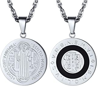 Stainless Steel Saint Benedict Religious Necklace Catholic Gift Vintage French Talisman Amulet Christian Jewelry