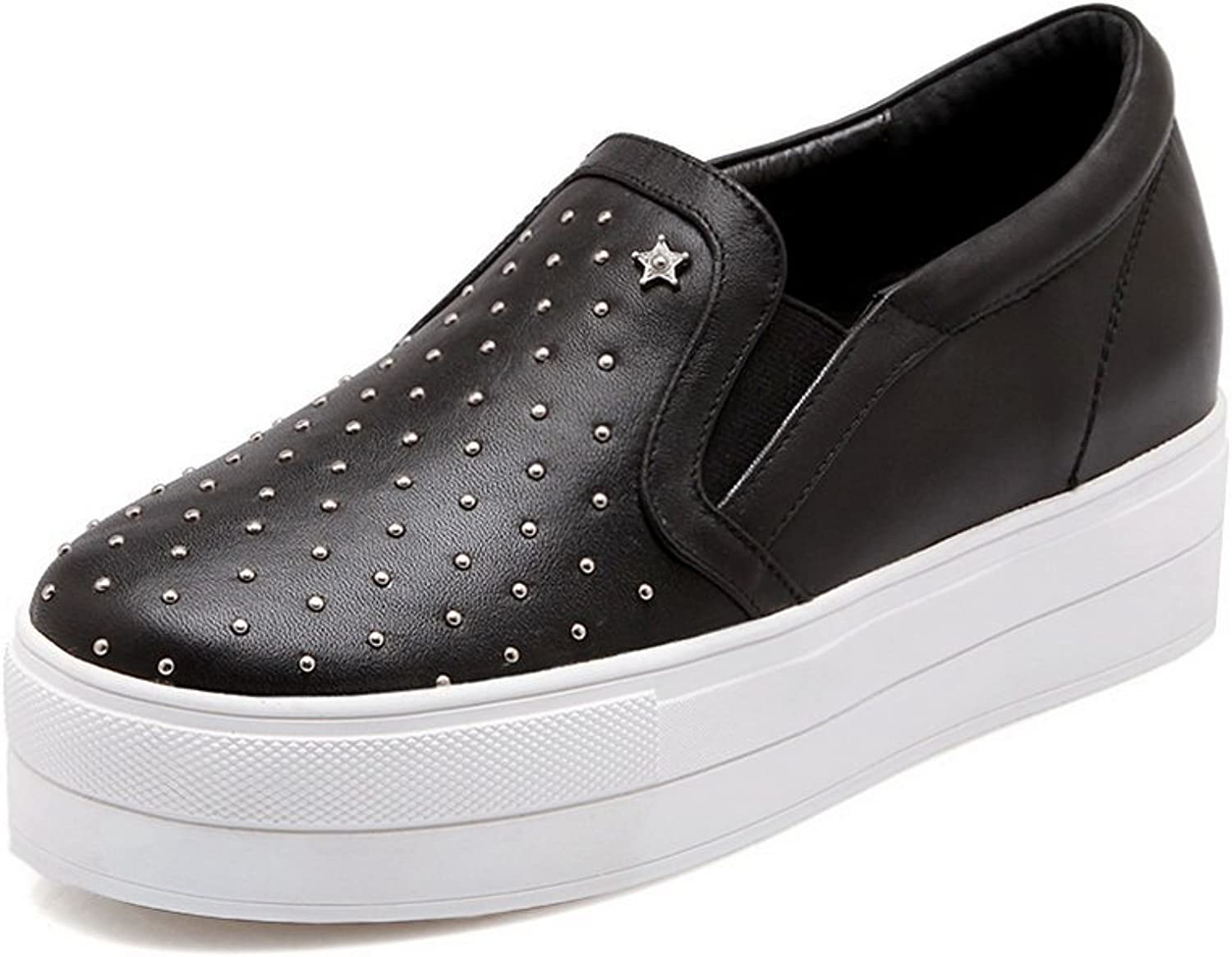AdeeSu Womens Casual Round-Toe Solid Slip-Resistant Leather Loafers shoes SDC04474