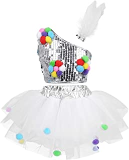 MSemis Kids Girls Shiny Sequins Dance Costumes for Stage Performance Ballet Tutu Dress Dancewear Skirt Outfits