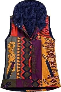 Women Flannel Lined Vest Hooded Print Vest Sleeveless Coat Jackets