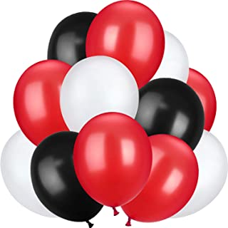 TecUnite 100 Pieces 13 inch Latex Balloons for Wedding Festival Party Decoration Supplies, 3 Colors (Black, Red, White)
