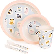 boppi 5-Piece Bamboo Eco Friendly Children's Dinnerware and Cutlery Set for kids Toddlers with Dishwasher Safe and BPA Fre...