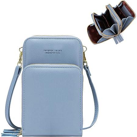 Damen Handtaschen Schultertasche Handytaschen Umhängetasche Kunstleder Schultertasche 3 Reißverschluss Beutel mit Vielen Kartenfach Geldbörse Portemonnaie für iPhone 5/6/7/8 Plus/X XR/11/12 Pro
