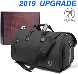 Crospack 22 inch Garment Bag Crospack Suit Travel Bag with Shoulder Strap 2 in 1 Hanging Suit Travel Bags for Men Duffle Garment Bags Carry on Suit Carrier Travel Bag Foldable Flight Bag (DARK GRAY)