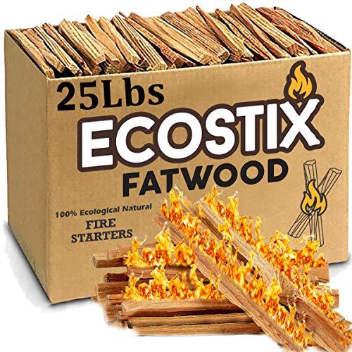 EasyGoProducts Eco-Stix Fatwood Fire Starter Kindling Firewood Sticks – 100% Organic – Firestarter for Wood Stoves, Fireplaces, Campfires, Bonfires, 25 Lbs