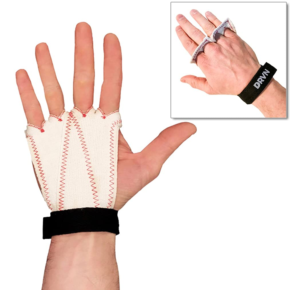 DRVN Four Finger Hand Grips – Durable Gym Gloves with Palm Protection for Workout