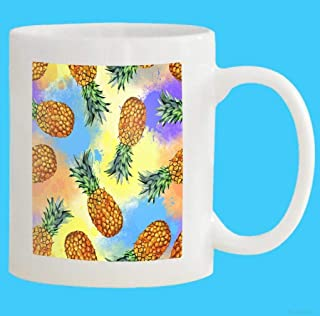 Eletina candy Novelty Coffee Mugs Custom Mug 11 Oz Watercolor Fruit Hand Painted Pineapple Color Colored White Ceramic Gifts Tea Cup