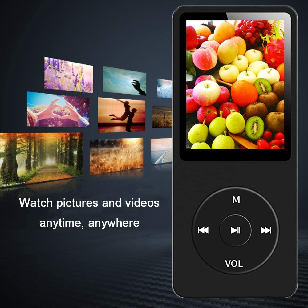 Dyzeryk Music Player with 16GB Micro SD Card E-Book Reader Ultra Slim Music Player with Build-in Speaker Supports up to 128GB MP3 Player Photo Viewer FM Radio Video Play Voice Recorder