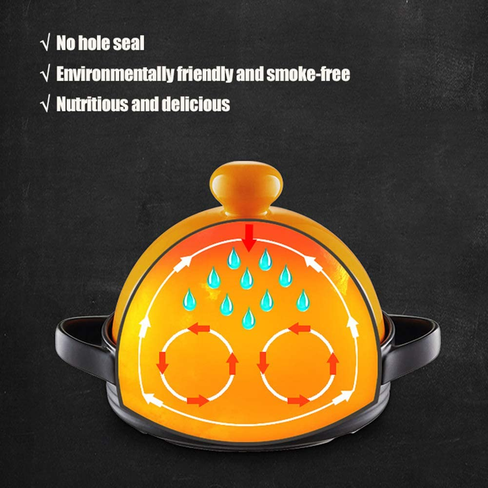 WZYJ Tajine De Cuisson Moyen, Ustensiles De Cuisine en Pot De Tajine Ragoût Casserole Mijoteuse Pot De Tajine sans Plomb pour La Cuisson pour La Cuisine À Domicile,Orange Red