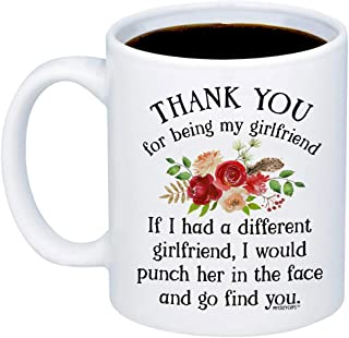 MyCozyCups Gifts For Girlfriend - Thank You For Being My GF Coffee Mug - Funny Cute Idea 11oz Cup For Couples, Partner, Her, Women - Anniversary, Valentine's Day, Birthday, Christmas, Mother's Day Mug
